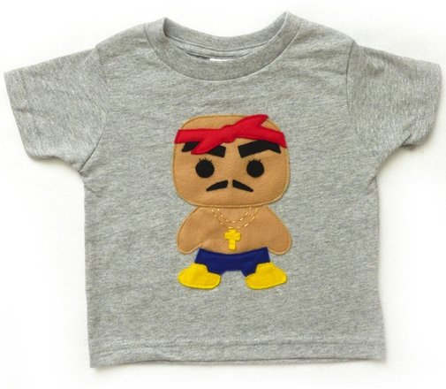 Tupac Rapper Toddler Shirt: Handmade Felt Appliqued T-Shirt by Mi Cielo - Whimsical & Unique Gift Ideas for the Coolest Gift Givers