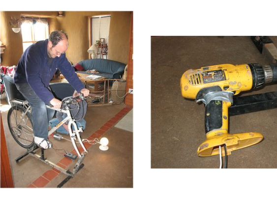 Cordless Drill Turned Into Bicycle-Powered Generator | Hackaday