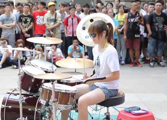 Amazing Girl Drummer Does BIGBANG - Fantastic Baby Street Performance - YouTube