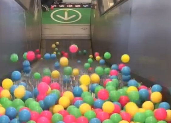 What Happens When You Drop Balls Onto A Moving Escalator