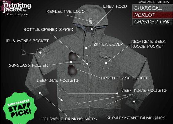 The Drinking Jacket That Has a Bottle Opener, Koozie Pocket and More