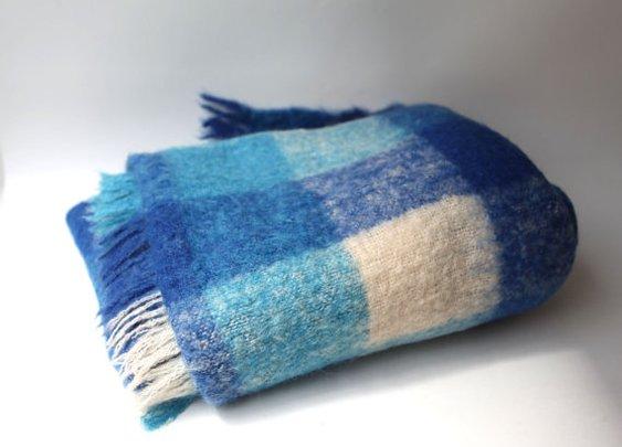 Vintage retro blue aqua and white check mohair wool by evaelena