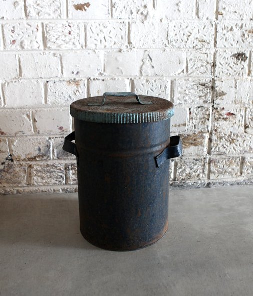 Antique small shabby cottage rustic storage metal bin by evaelena