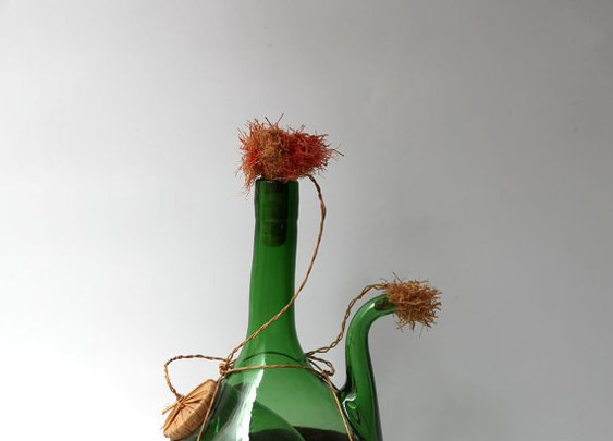 Vintage 1960s Italian hand blown chianti glass bottle by evaelena