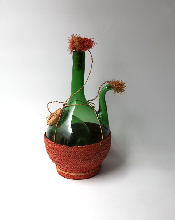 Vintage 1960s Italian hand blown chianti glass bottle by evaelena