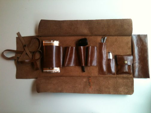 Leather Pipe Bag / Pipe Pouch / Tobacco by shamanleatherworks