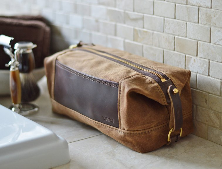Personalized Expandable Dopp Kit in #10 Brown Waxed Canvas and Horween Leather