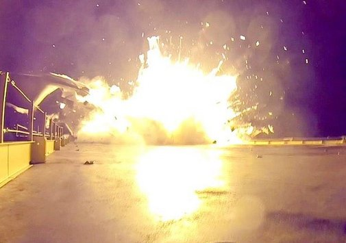 SpaceX booster crash: Video and pictures.