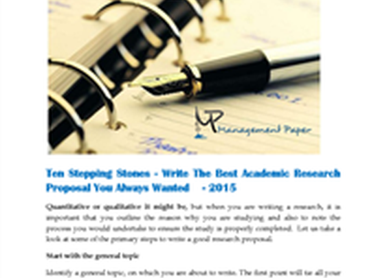 Ten_Stepping_Stones _Write_The_Best_Academic_Research_Proposal_2015
