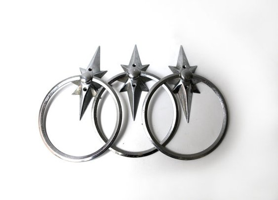 Vintage 1960s atomic star chrome bathroom towel rings by evaelena