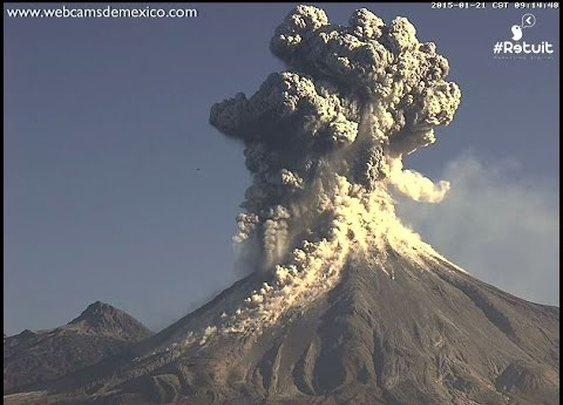 Volcán de Colima 21 de enero 2015. Enorme explosión a las 9:14am. Columna de cenizas de 4kms - YouTube