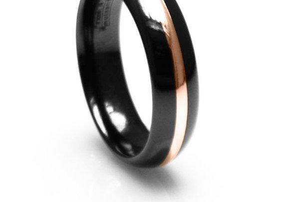 6mm 14k yellow gold and Black Titanium Ring | Alpha Rings