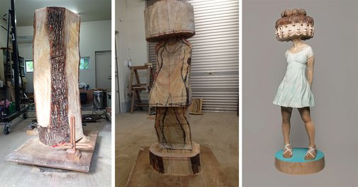 Japanese Sculptor Shows How He Transforms Wood Into Surreal Statues   Bored Panda