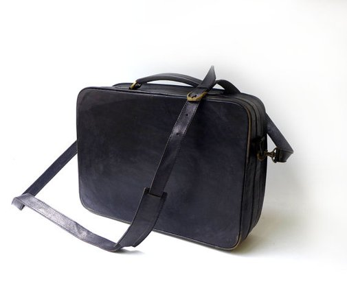 Vintage retro hard shell black leather laptop brief by evaelena