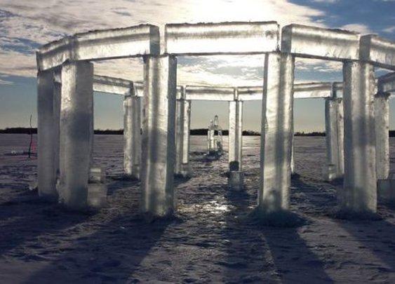 """Icehenge"" Appears on a Frozen Lake in Wisconsin"