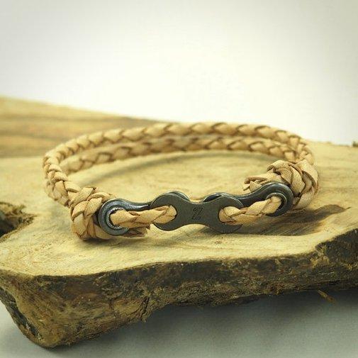 Bike Chain Bracelet Leather Bracelet Tan by DesignedTurning