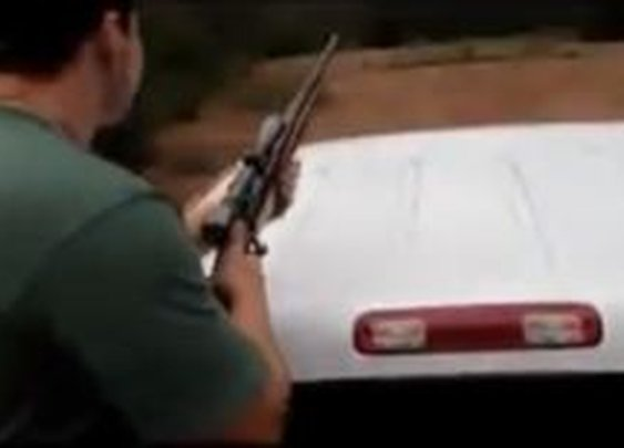 Guy Shoots The Roof Of His Truck: Aim Fail