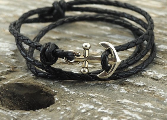 Nautical Bracelet Mens Anchor Bracelet Anchor by DesignedTurning