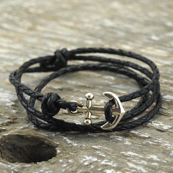 Nautical Bracelet Mens Anchor Bracelet Anchor by DesignedTurning