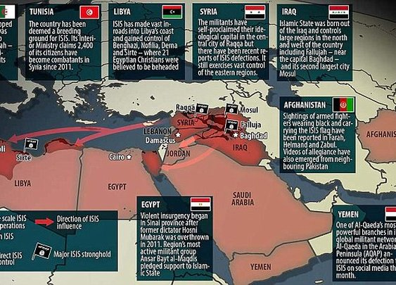 Map shows how ISIS tentacles now reach from Algeria to Afghanistan   Daily Mail Online