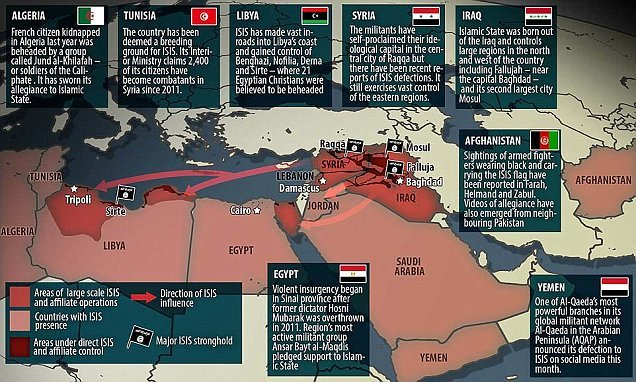 Map shows how ISIS tentacles now reach from Algeria to Afghanistan | Daily Mail Online