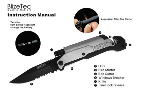 Blizetec Rescue Survival Knife | Bushcraft and Camping knife