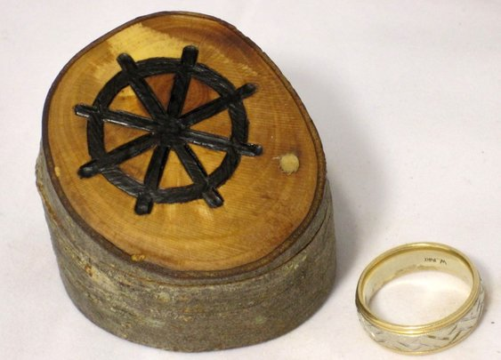 Dharma Wheel ring or keepsake box in elm wood by Hope & Grace Pens