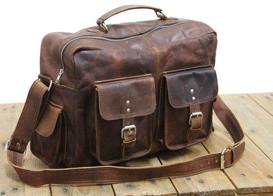 Vintage Leather Flight Bag 16 Brown Messenger by neovintagebags