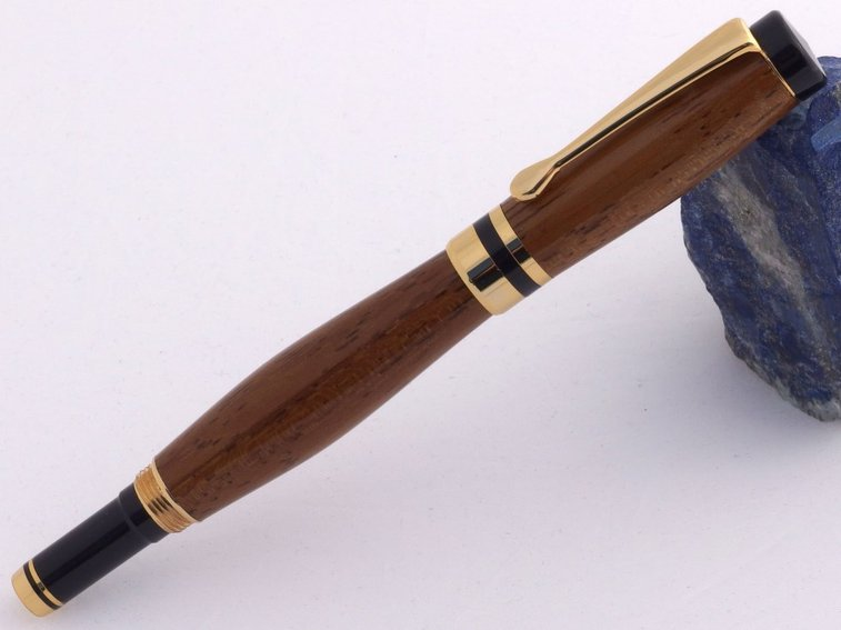Wood Pen in exotic Iroko wood with 24k gold by Hope & Grace Pens