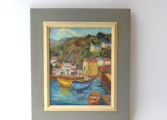 Vintage original 1960s oil painting seascape Greek by evaelena
