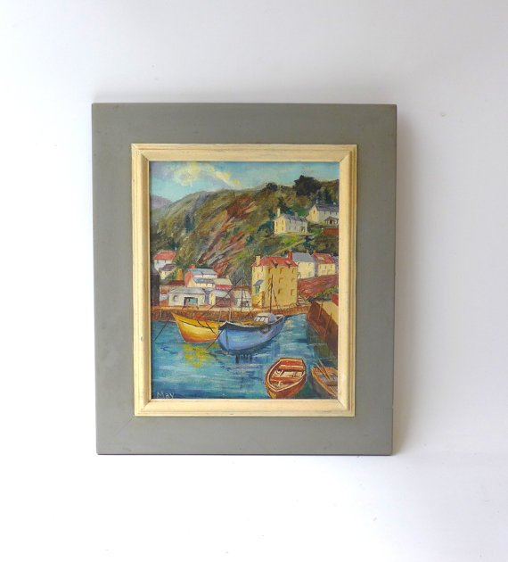 Vintage original 1960s oil painting seascape Greek by evaelena
