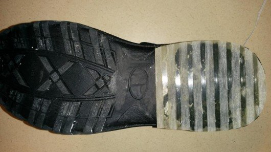 New boot sole rubber uses glass to grip on ice
