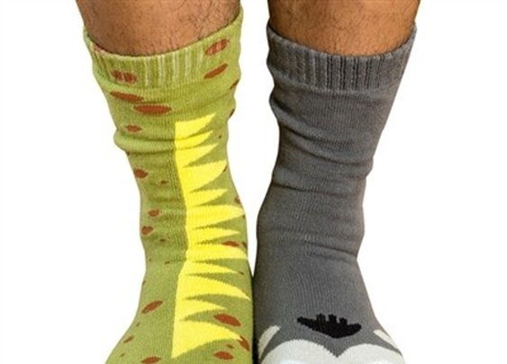 Men's Giant Gorilla vs. Mutant Lizard Socks - Whimsical & Unique Gift Ideas for the Coolest Gift Givers