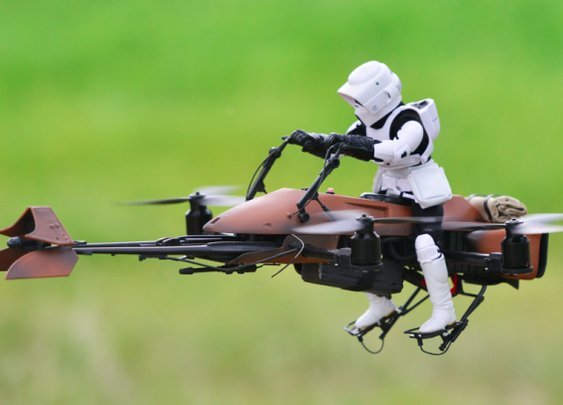 This Guy Turned A Quadcopter Into A Star Wars Speeder Bike And It's Amazing