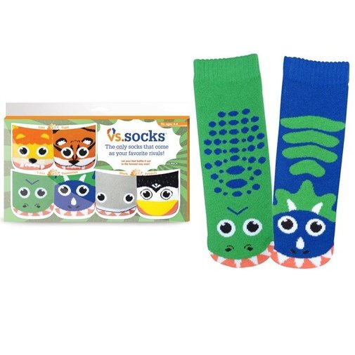 Boys Vs. Socks 3-Pack: Shark vs. Penguin, Lion vs. Tiger, T-Rex vs. Triceratops - Whimsical & Unique Gift Ideas for the Coolest Gift Givers