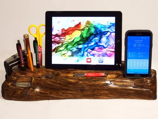 Desk caddy in driftwood with iPad or Kindle stand by Hope & Grace Pens