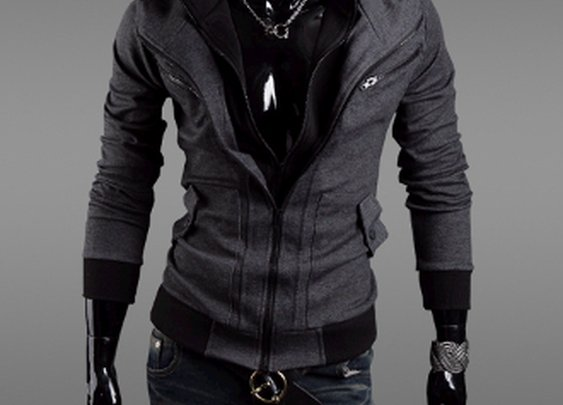 Men's Layered Zipper Hoodie Jacket