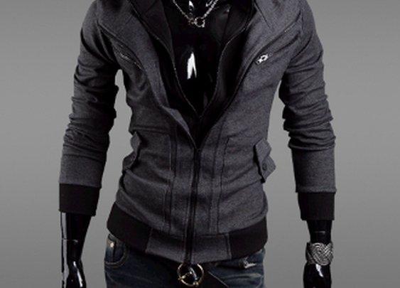 Men's Layered Zipper Hoodie Jacket