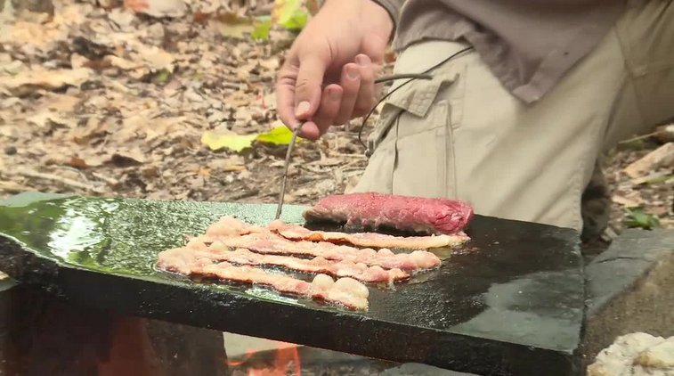 Cooking on a Rock (with bacon)