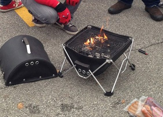 The backpack-friendly foldable GoBQ fabric grill
