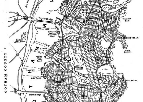 Map of DC Comic's Gotham City
