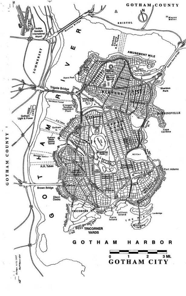 Map of DC Comic's Gotham City