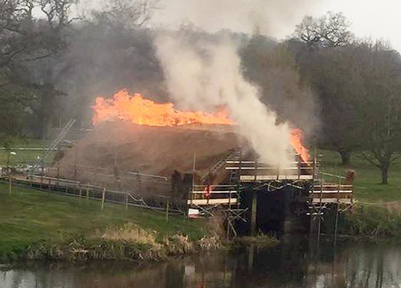 Warwick Castle cannonball show sets fire to medieval boathouse - Telegraph