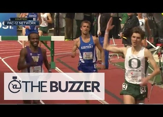 Runner prematurely celebrates win, gets passed at finish line - YouTube