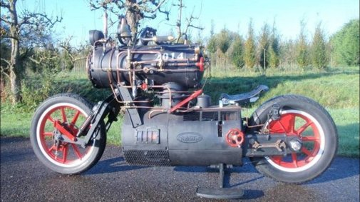 The loco steam-powered Black Pearl motorcycle from Revatu Customs