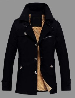 Mens Mid Length Fur Lined Coat