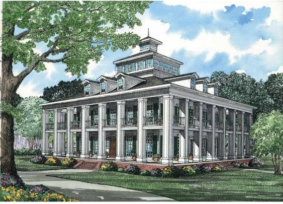 Plantation House Plan with 5689 Square Feet and 5 Bedrooms from Dream Home Source | House Plan Code DHSW12372