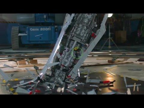 Giant Star Wars LEGO Super Star Destroyer Shattered at 1000 fps