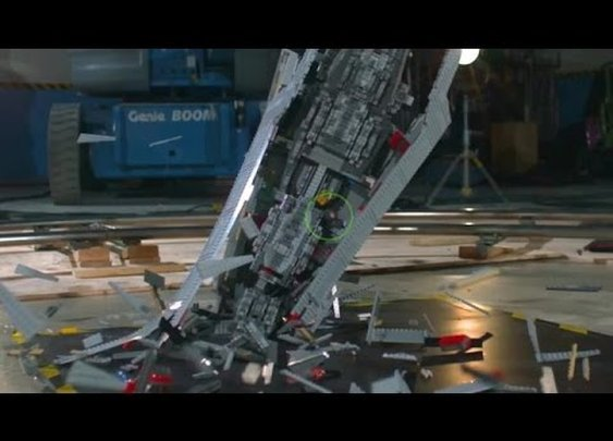 Giant Star Wars LEGO Super Star Destroyer Shattered at 1000 fps