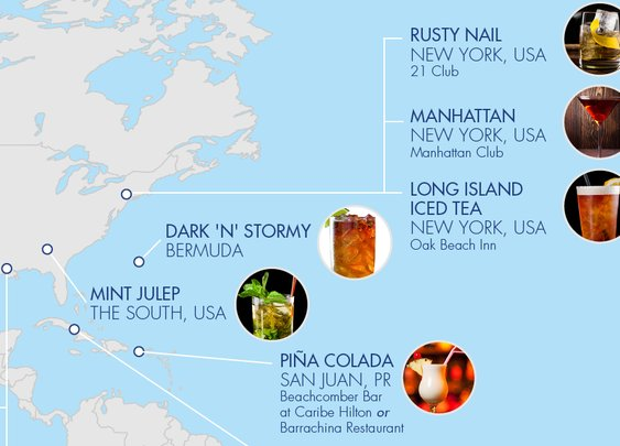 MAP: The Birthplaces Of More Than 30 Famous Cocktails | VinePair